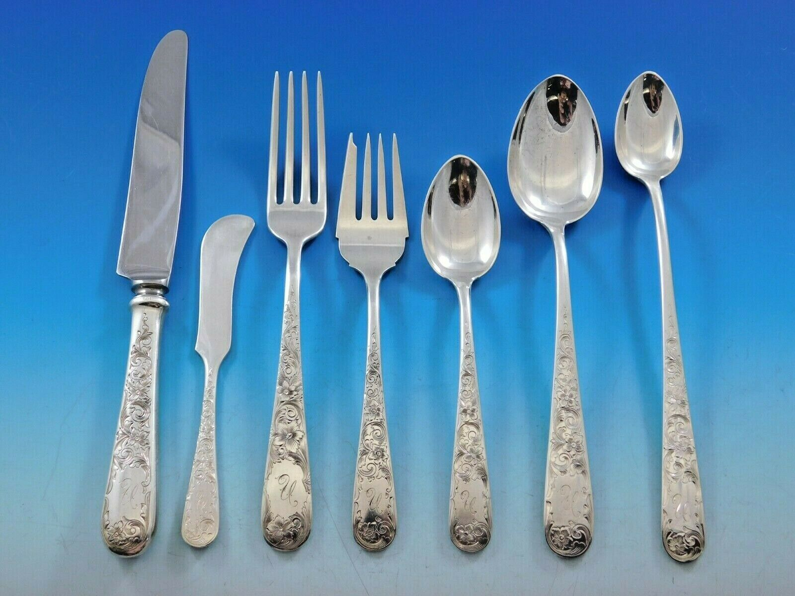 Old Maryland Engraved by Kirk Sterling Silver Flatware Service Set 82 pc Mono N - $5,500.00