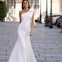Sexy Sleeveless Single Bowknot Shoulder Solid Satin Mermaid Wedding Dress