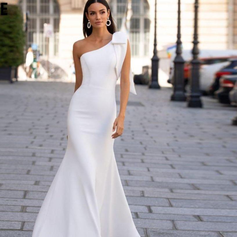 Mermaid wedding dresses sexy one shoulder sleeveless bridal gown white ivory beach wedding party
