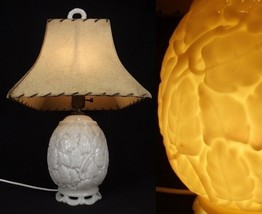 Antique Aladdin Alacite Lamp Table White Flowers Wreath Finial Fiberglass Shade - $93.14