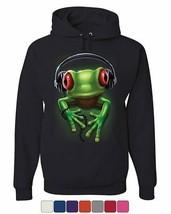 DJ Frog with Headphones Hoodie Cute Animal Music Wildlife Rock Sweatshirt - $23.31+