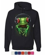 DJ Frog with Headphones Hoodie Cute Animal Music Wildlife Rock Sweatshirt - $23.31+