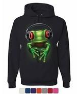 DJ Frog with Headphones Hoodie Cute Animal Music Wildlife Rock Sweatshirt - $30.00 - $38.99