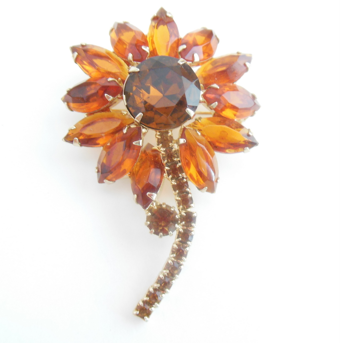 Vintage Weiss Flower Pin Brooch Shades Amber Navette Faceted Prong Set Copper - $64.95