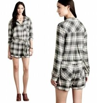 Anthropologie Relax Romper Medium 6 8 Grey Plaid COMFY Pockets Stretch W... - $71.87