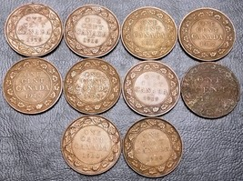 Collection of 10x Canada Large Cent Coins - Dates: 1916 to 1920 - $10.36