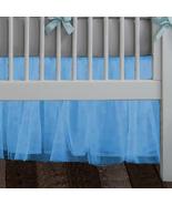 Blue Tulle Lined Ruffled Crib Skirt / Mini Crib Skirt - $39.99+