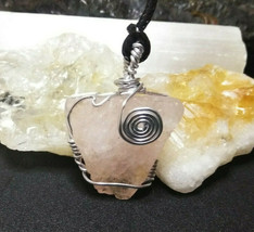 Necklace Sliver Wire Wrapped Rose Quartz Crystal  Spirals Pendant Boho Chic - $17.41