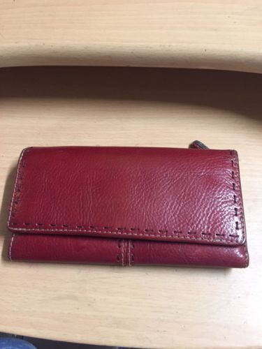 FOSSIL Red Pebbled Leather Tri Fold Clutch Wallet Removable Checkbook