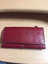 FOSSIL Red Pebbled Leather Tri Fold Clutch Wallet Removable Checkbook - $60.53