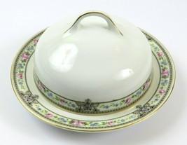 Vintage Hutschenreuther Butter Dish with Lid, Blue Pink Floral Gold, Bav... - $39.59