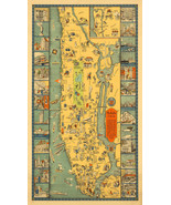 "Map of Manhattan 26 Vignettes Wall Art Poster 9""x16"" Home School Office ... - $12.38"