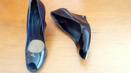 Gucci Womens Brown Patent Leather Peep Toe Wedges Pump Heels Size EUR 36 - $122.55