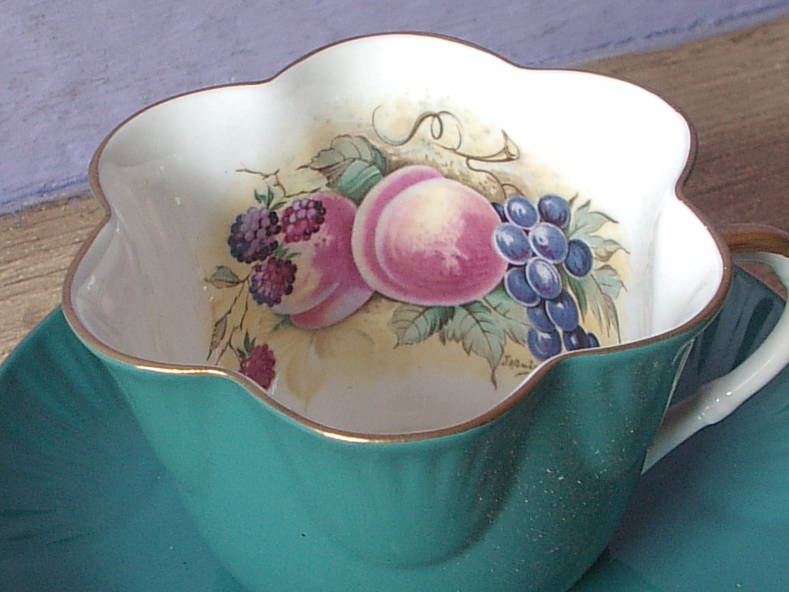 Primary image for Vintage Staffordshire England green bone china JA Bailey fruit tea cup teacup