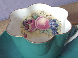 Vintage Staffordshire England green bone china JA Bailey fruit tea cup t... - $48.51