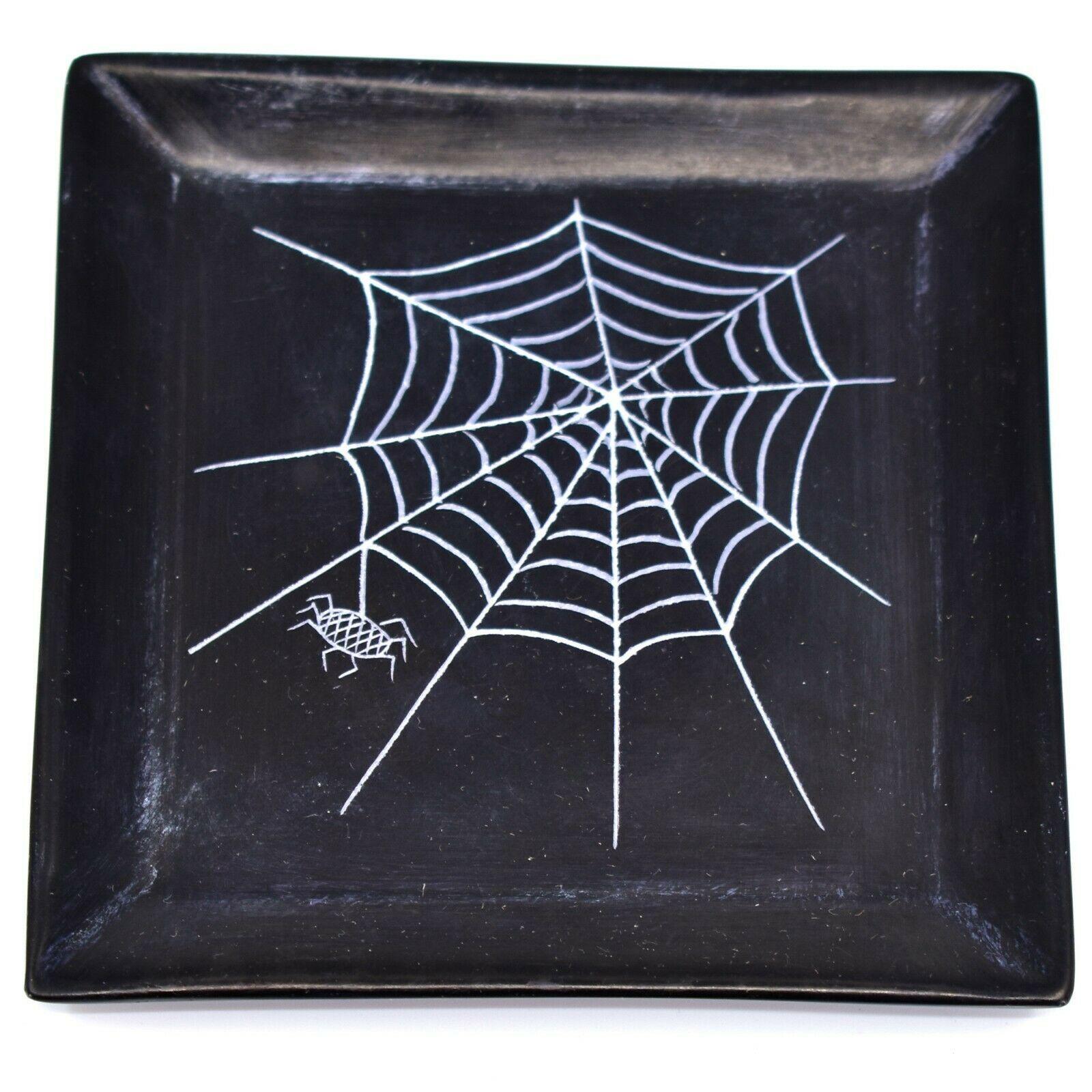 Vaneal Group Hand Carved Kisii Soapstone Spiderweb Spider Halloween Trinket Dish