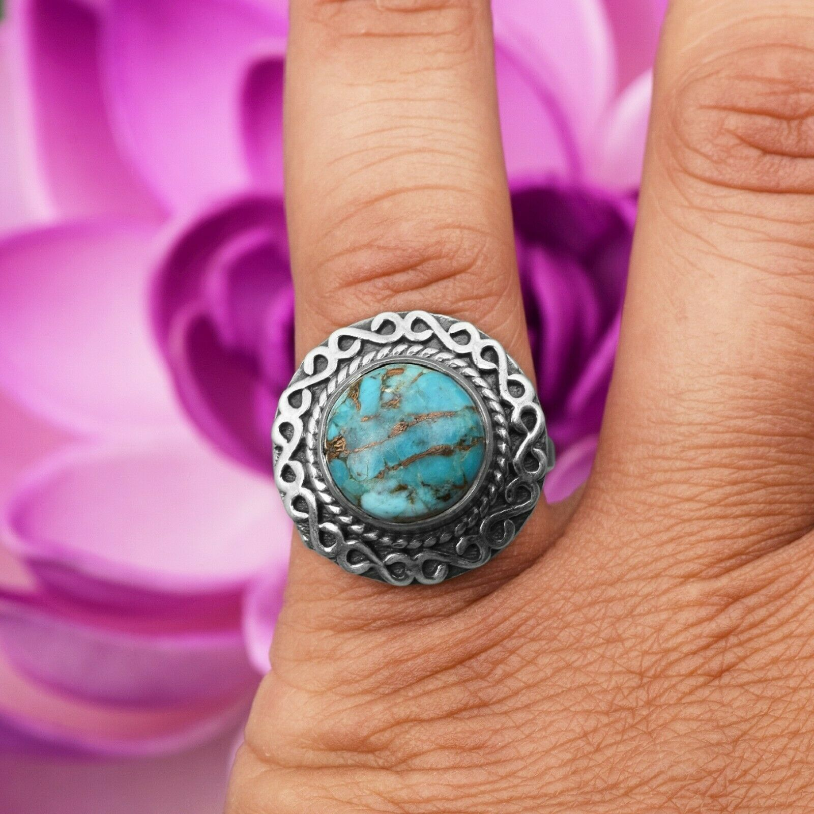 Solid 925 Sterling Silver Round Blue Turquoise Infinity Design Vintage Halo Ring