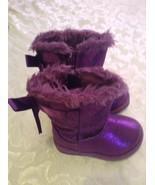 Girls Toddler Size 5 Medium Rack boots purple metallic faux fur winter   - $25.99