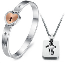 His and Hers Matching Set Couple Titanium'Only You Have My Key' Bangle B... - $69.20
