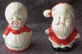 Cute Ceramic Santa and Mrs. Claus Salt and Pepper Shakers - VGC - SUPER ... - $19.79