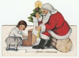 Vintage Christmas Card Santa Claus Child Toy Piano Elephant 1925 Die Cut - $8.90