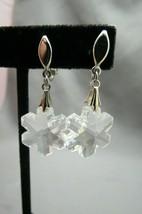 Vtg Crown Trifari Snowflake Earrings Crystal Silver Rhodium Christmas Clip On - $39.59