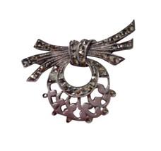 Vintage silver marcasite bow brooch pin long feminine 925 sterling rl167 - $49.89
