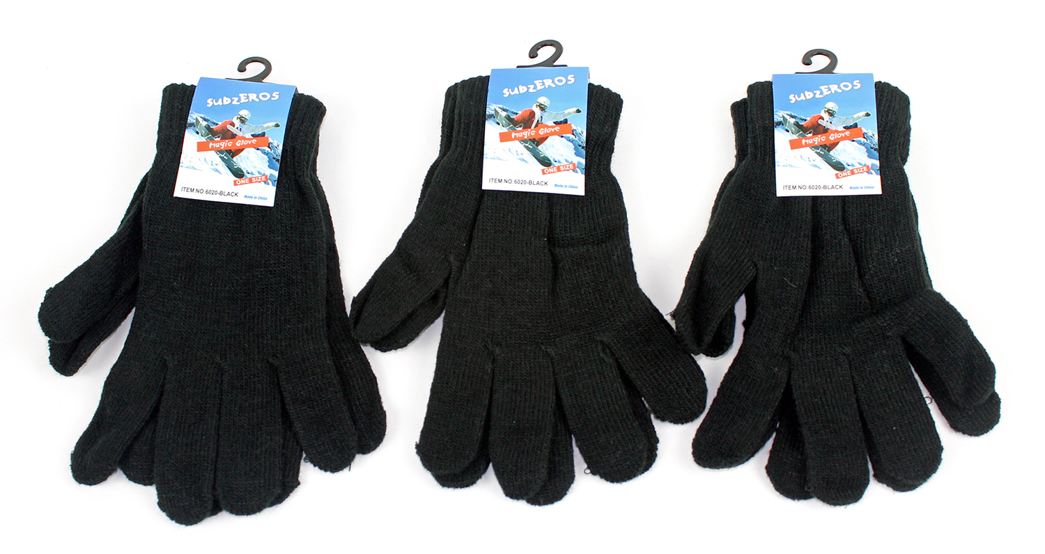 Case of [24] Wholesale Adult Magic Stretch Gloves - Black