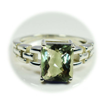 Original Green Amethyst Gemstone Sterling Silver Ring Chain Style Band S... - £22.19 GBP