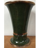 Antique Vtg Greek Style Mottled Green Gold Trim Large Ceramic Flower Vas... - $59.99