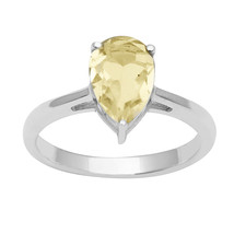 925 Sterling Silver Lemon Quartz Gemstone Women Wedding Solitaire Ring J... - $15.93+