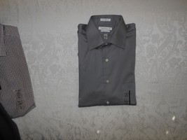 Mens Van Heusen Flex Collar Pin Cord Dress Shirt Large 16 32/33 Green  NWT - $19.99