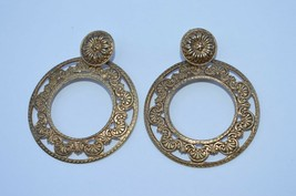 Vintage Victorian Style Filigree Scroll Large Post Dangle Earrings - $8.56