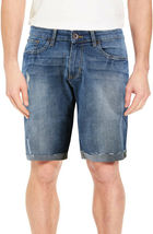 Men's Distressed Denim Light Faded Wash Stretch Ripped Casual Jean Shorts image 3