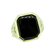 10k Yellow Gold Men's Genuine Natural Onyx Ring Hand Engraved (#J4700) - $361.25