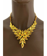 Dainty Lime & Citrine Yellow Crystal Evening Bib Necklace Earring Set Dr... - $33.25