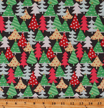 Cotton Christmas Trees Holiday Winter Retro-look Fabric by the Yard D504.52 - $11.95