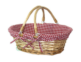 Oval Willow Basket with Red White Plaid Lining and Handles - $15.77