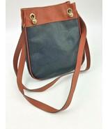 Bottega Veneta Purse Italy Navy Blue Brown Leather Gold Chain Shoulder Bag - $96.74