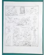 GODS of Seas Rivers Neptune Poseidon Thetis Triton Oceanus - 1828 Antiqu... - $14.40