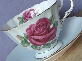 Vintage Paragon England Reg Johnson pink rose blue bone china tea cup teacup - $157.41