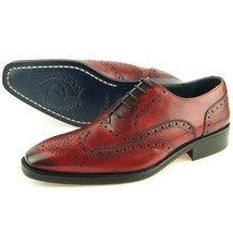 Handmade Men Brown Color Premium Leather Wing Tip Burnished Brogue Toe Shoes - $139.90+