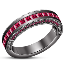 14k Black Gold Plated 925 Silver Princess Cut Pink Sapphire Engagement Band Ring - $86.99