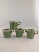 Set Of 4 Vintage Hull Oven Proof Green Drip Glaze Coffee Cup Mug Drink L... - $28.04