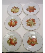 6 Bavaria Germany Fruit Dessert Plates Gold Scalloped Edge Pears Nuts Pi... - $35.64