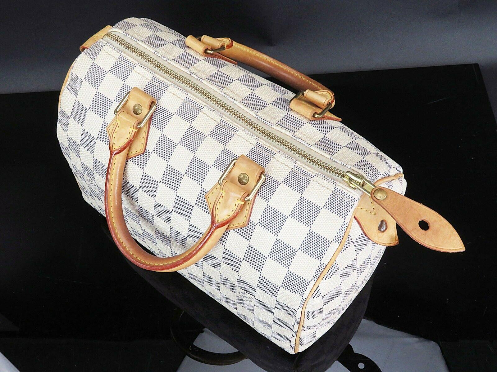 Authentic LOUIS VUITTON Speedy 25 Damier Azur Boston Hand Bag Purse #33078