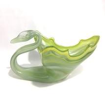 Vintage Hand Blown Glass Swan Art Vase Bowl Murano Style Green Mid Centu... - $29.65