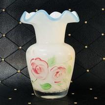"""Fenton Hand Painted Ruffled White Ribbon Vase 6 1/4"""" - Unmarked - $20.39"""