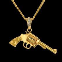 "14K Gold GP Hip Hop Gangster Gun Pistol Mini CZ Pendant Necklace 30"" Rop... - $6.79"