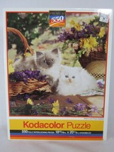 Kodacolor 550 Piece Jigsaw Puzzle Kittens and Flower Baskets 1992 SEALED - $13.85